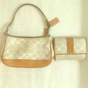 Coach clutch and wallet set